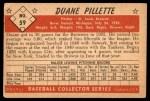 1953 Bowman B&W #59  Duane Pillette  Back Thumbnail
