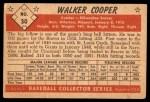 1953 Bowman B&W #30  Walker Cooper  Back Thumbnail