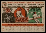 1956 Topps #340  Mickey McDermott  Back Thumbnail
