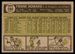 1961 Topps #280  Frank Howard  Back Thumbnail