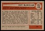 1954 Bowman #12 COR Roy McMillan  Back Thumbnail