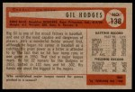 1954 Bowman #138 ALL Gil Hodges  Back Thumbnail