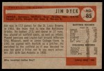 1954 Bowman #85 ALL Jim Dyck  Back Thumbnail