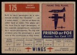 1952 Topps Wings #175   Short Sealand Back Thumbnail
