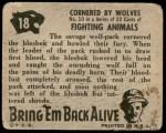 1950 Topps Bring Em Back Alive #18   Cornered By Wolves Back Thumbnail