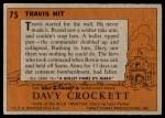 1956 Topps Davy Crockett #75   Travis Hit  Back Thumbnail