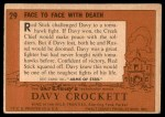 1956 Topps Davy Crockett #29   Face to Face with Death  Back Thumbnail