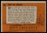1956 Topps Davy Crockett #46   Off To Texas  Back Thumbnail