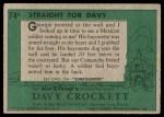 1956 Topps Davy Crockett Green Back #74   Straight For Davy  Back Thumbnail