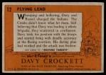 1956 Topps Davy Crockett #12   Flying Lead  Back Thumbnail