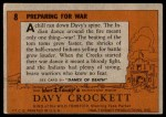 1956 Topps Davy Crockett #8   Preparing for War  Back Thumbnail