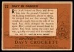 1956 Topps Davy Crockett #22   Davy in Danger  Back Thumbnail