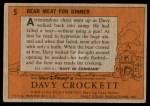 1956 Topps Davy Crockett #5   Bear Meat For Dinner  Back Thumbnail
