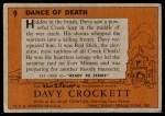 1956 Topps Davy Crockett #9   Dance of Death  Back Thumbnail