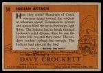 1956 Topps Davy Crockett Orange Back #14   Indian Attack  Back Thumbnail
