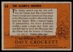 1956 Topps Davy Crockett #54   The Alamo's Answer  Back Thumbnail