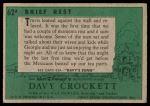 1956 Topps Davy Crockett Green Back #62   Brief Rest  Back Thumbnail