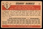 1953 Bowman #60  Granny Hamner  Back Thumbnail