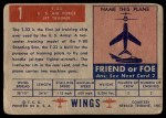 1952 Topps Wings #1   T-33 US Air Force Jet Trainer Back Thumbnail