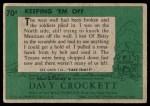 1956 Topps Davy Crockett Green Back #70   Keeping 'Em Off  Back Thumbnail