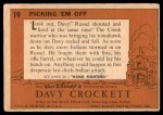 1956 Topps Davy Crockett Orange Back #19   Picking 'Em Off  Back Thumbnail