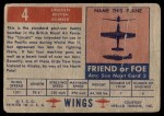 1952 Topps Wings #4   Lincoln Back Thumbnail