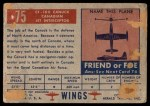 1952 Topps Wings #75   CF-100 Canuck Back Thumbnail