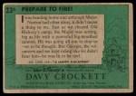 1956 Topps Davy Crockett Green Back #23   Prepare To Fire!  Back Thumbnail