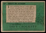 1956 Topps Davy Crockett Green Back #14   Davy in Action  Back Thumbnail