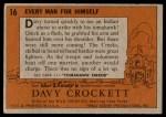 1956 Topps Davy Crockett #16   Every Man for Himself  Back Thumbnail