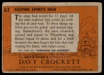 1956 Topps Davy Crockett #63   Keeping Spirits High  Back Thumbnail
