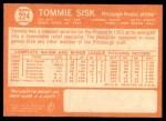 1964 Topps #224  Tommie Sisk  Back Thumbnail