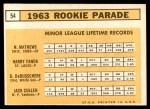 1963 Topps #54 III  -  Dave DeBusschere / Nelson Matthews / Harry Fanok / Jack Cullen  Rookie Stars Back Thumbnail