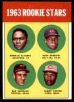 1963 Topps #158   -  Tommy Harper / Rogelio Alvarez / Dave Roberts / Bob Saverine Rookie Stars   Front Thumbnail