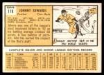 1963 Topps #178  Johnny Edwards  Back Thumbnail