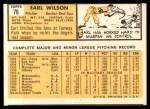 1963 Topps #76  Earl Wilson  Back Thumbnail