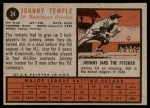1962 Topps #34  Johnny Temple  Back Thumbnail