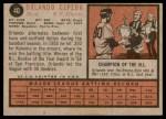 1962 Topps #40  Orlando Cepeda  Back Thumbnail