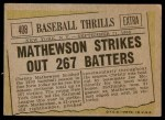 1961 Topps #408   -  Christy Mathewson Baseball Thrills Back Thumbnail