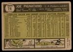 1961 Topps #74  Joe Pignatano  Back Thumbnail
