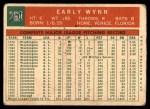 1959 Topps #260  Early Wynn  Back Thumbnail