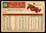 1959 Topps #104  Del Rice  Back Thumbnail
