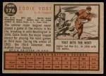 1962 Topps #176 POR Eddie Yost   Back Thumbnail
