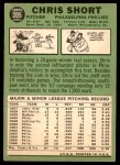 1967 Topps #395  Chris Short  Back Thumbnail