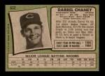 1971 Topps #632  Darrel Chaney  Back Thumbnail
