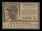 1971 Topps #118  Cookie Rojas  Back Thumbnail