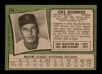 1971 Topps #254  Cal Koonce  Back Thumbnail