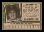 1971 Topps #78  Jim Spencer  Back Thumbnail