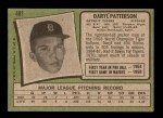 1971 Topps #481  Daryl Patterson  Back Thumbnail