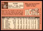 1969 Topps #405  Lee May  Back Thumbnail